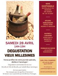 Vous souhaitez découvrir des vins d'exception ? Dégustation-Vente de vieux millésimes  par les vignerons du Domaine Paul Champier